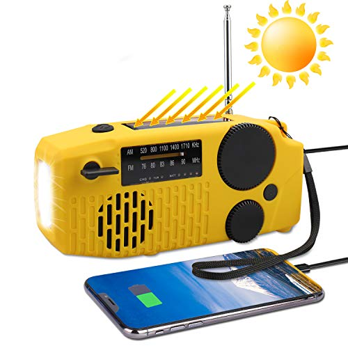 防災ラジオ Zerotone 【2020年 緊急ラジオ 手回しラジオ ソーラーチャージャー AM/FM対応携帯式ラジオ 非常用照明器具 大容量2000mAh 多機能 防水 懐中電灯 SOSアラーム付き USB ソーラー 充電 手回し充電対応 全種類スマホ充