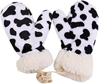 SOIMISS Winter Thickened Mittens Adorable Cows Pattern Full Finger Mittens Comfortable Warm Gloves for Women Girls