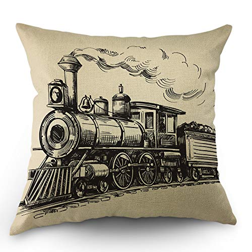 Moslion Train Throw Pillow Cover Vintage Train in Country Locomotive Wooden Wagons Rail Road with Smoke Pillow Case 18x18 Inch Cotton Linen Square Cushion Decorative Cover for Sofa Bed Beige
