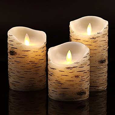 Flameless Candles with brich effect 4  5  6  Set of 3 Dripless Real Wax Pillars Include Realistic Dancing LED Flames and 10-key Remote Control with 24-hour Timer Function -AntizerTM