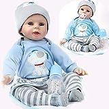 ZIYIUI 22 pouces 55cm Reborn Poupée Bébé Garçon Silicone Souple Vinyle Bébé Reborn Nouveau né Jouet Poupon Cadeaux de Noël bouche Reborn Toddler dolls