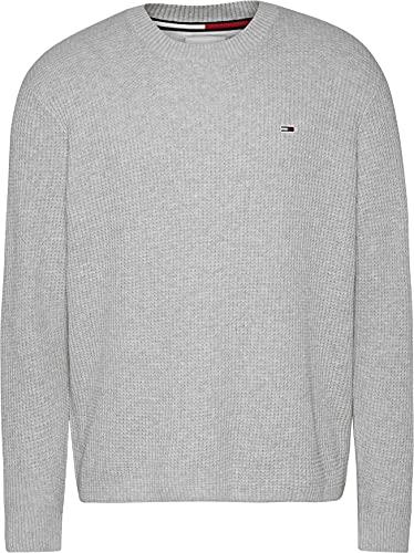 Tommy Jeans TJM Honeycomb Sweater Suter, Gris plateado, S para Hombre