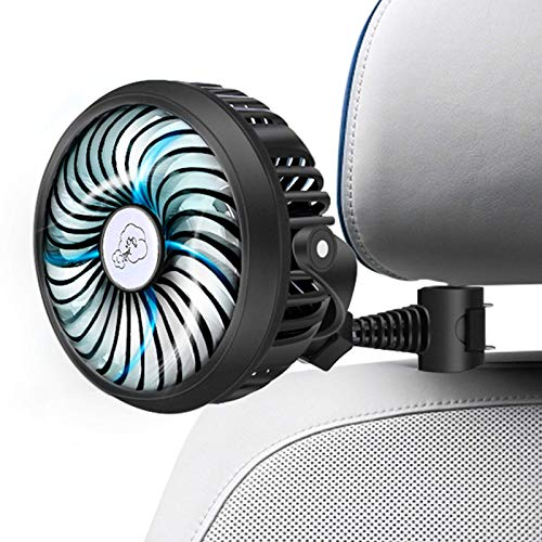 Car Fan 2200mAh Battery Powered Mini Car Fan,Personal Cooling Vehicle Fan with Quiet 3 Speed 360° Rotatable Function for Car, Rear&Back Seat Passenger, Dog, Bike in Summer