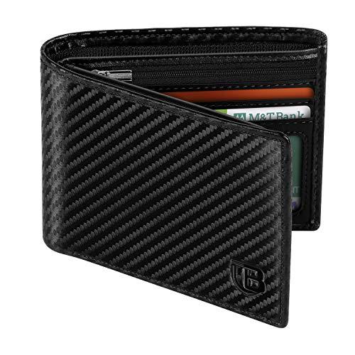 Cartera Hombre, BIAL RFID Clásico Cuero Billetera Hombre Piel, con 8 Ranuras para Tarjetas De Crédito 2 Ventanas De...
