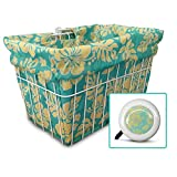 Cruiser Candy Bicycle Basket Liner & Tote in One, Stylish Bike Basket Liner, Yoga Bag,Gym Bag,Beach Bag. Matching Bicycle Bell Included, Bike Bell (Mint Yellow Hibiscus)