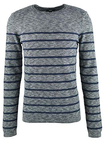 Mavi Herren Striped Sweater Sweatshirt, Blau (Total Eclipse 23077), X-Large