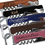Custom Engraved Groomsmen Beer Bottle Opener and Bridesmaid Wine Corkscrew for the Wedding Party - Monogrammed and Personalized