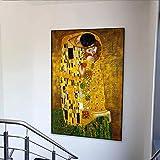 supmsds Kein Rahmen Gustav Klimt Kuss Abstrakte Bild Leinwand Malerei Plakate und Drucke Klassische Wandbilder für Wohnzimmer Home Decor Cuadros 19.7x23.6inch