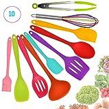 Juego de 10 utensilios de cocina de silicona para utensilios de cocina, cepillo resistente al calor, pinzas, cuchara, espátula grande, espátula ranurada, cucharón