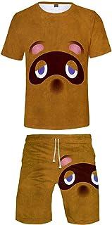 Takyojin Unisex Animal Crossing Sportswear Conjuntos de Camisas y Pantalones Cortos con Estampado 3D para Niños