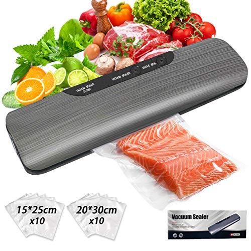 Vakuumiergerät, Vakuumierer, Lebensmittel bleiben vakuumiert bis zu 8x länger frisch | 20x Vakuumbeutel Inklusive | Vakuumierer Automatisch für trockene und feuchte Lebensmittel