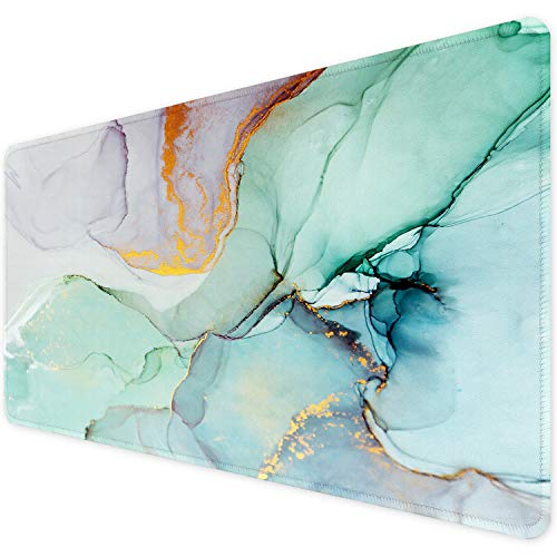 ITNRSIIET [35% Larger] Extended Gaming Mouse Pad with Stitched Edges, Long XXL Mousepad (35.4x15.7In), Non-Slip Rubber Base, Waterproof Keyboard Pad, Mouse Mat for Work Gaming Office,Modern Marbling