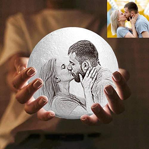 Personalisierte Nachttischlampe mit Eigenem Foto und Text Nachtlicht 3D Bedrucken 16 Farben Touch Dimmbar Led Mondlampe Bild Selbst Gestalten Sternenhimmel für Baby Kinder Freund Zimmer Geschenk