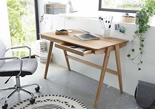 lifestyle4living Schreibtisch in Braun, AST-Eiche Massiv-Holz geölt, 120 x 65 cm | Bürotisch mit 2 Schubladen im Scandi-Style