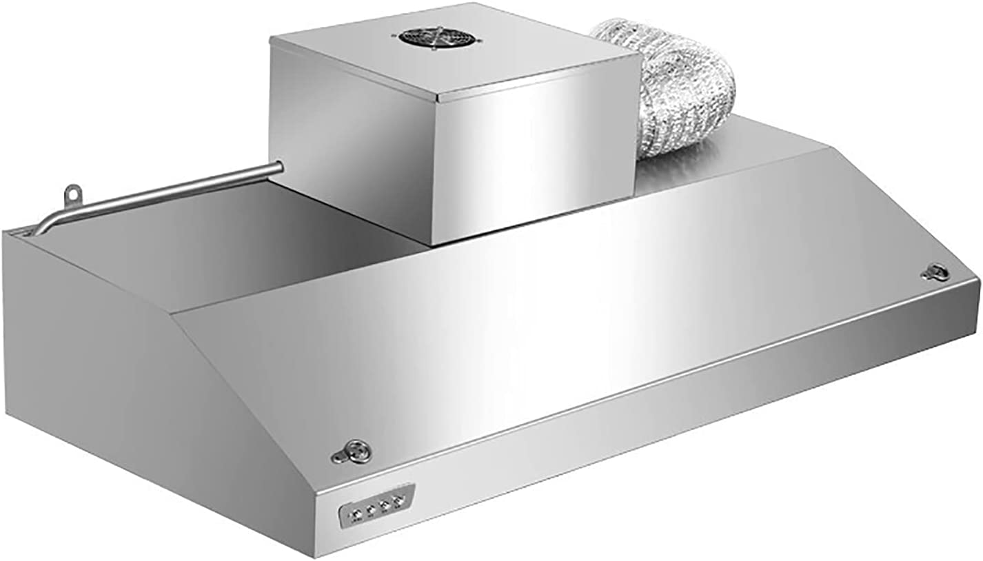 PEIHAN Campana extractora, Campana Convertible, Campana extractora Delgada para Cocina con Ventilador de 2 velocidades, filtros de Malla de Acero Inoxidable, Luces LED, Plateado