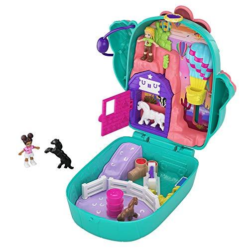 Polly Pocket GKJ46 - Kaktus Reiterhof Schatulle mit 2 kleinen Puppen und Zubehör, Spielzeug ab 4 Jahren