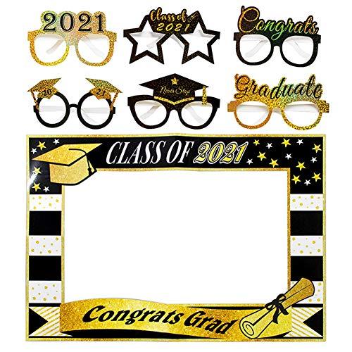 Mengxin 7 Piezas Photo Booth Props 2021 Cabina de Fotos Gafas Photocall Divertido para Regalo Graduación Decoraciones Fiesta Brillo Dorado