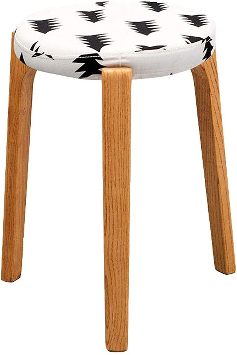 Footstools Solid Wood Stool Chair Black Small Tree Pattern On White Round Three Leg Log Support Dining Stool Dressing Bench (color   A)