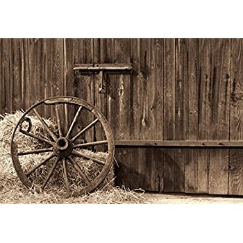 10x12 FT Photo Backdrops,Vintage Wooden Train Rail Wild West Wagon in Countryside Drawing Effect Artsy Background for Kid Baby Boy Girl Artistic Portrait Photo Shoot Studio Props Video Drape Vinyl