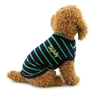 Zunea Petite pour chien ou chat Gilet T-shirt en coton Rayures Doggy Chemises Chihuahua Puppy Vêtements Costume