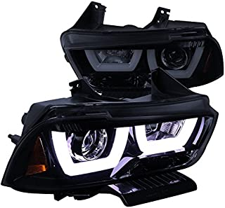 Spec-D Tuning 2LHP-CHG11G-TM Dodge Charger Glossy Black Dual Halo LED DRL Projector Headlights Pair - coolthings.us