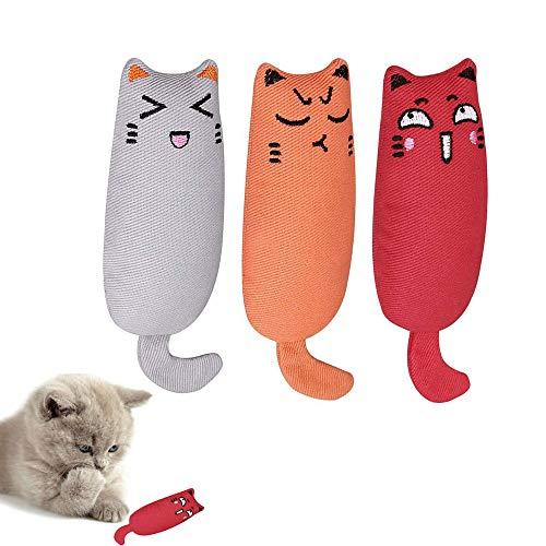 Transino Katzenspielzeug 3 Stück Spielzeug mit Katzenminze Catnip Spielzeug Katzenminze Kissen Schmusekissen Plüsch Spielzeug Set für Katze und Kätzchen