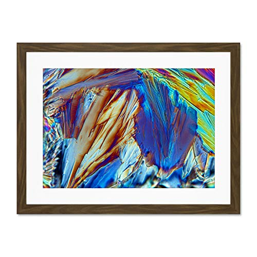 Abstract Glucose Crystal Electron Microscope Large Brown Framed Art Print Wall Poster 18x24 inch