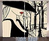 ABAKUHAUS Negro y Beige Cortinas, Montmartre Europea Mujer, Sala de Estar Dormitorio Cortinas Ventana Set de Dos Paños, 280 x 245 cm, Negro Beige y Rojo