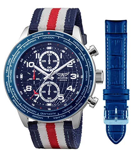 Aviator Military Pilot Flight Series 2 in 1 Watch - Blue Dial Quartz with Two Interchangeable Straps Waterproof Watch Set - Red Blue White US Flag Textile Band and Genuine Leather Light Blue Band