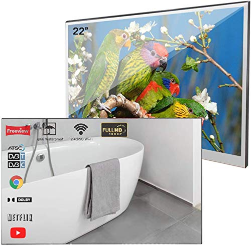 Soulaca 22 Pouces Smart TV Miroir IP66 TV étanche pour Salle de Bains, Hôtel avec télécommande (modèle 2019 Le Plus récent)