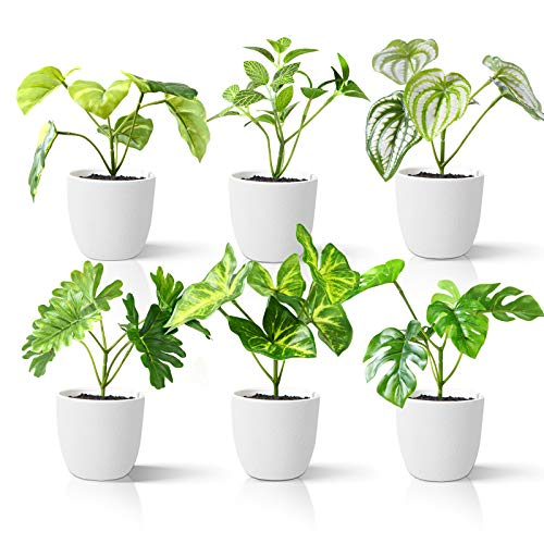 Kazeila Mini Plantas Artificiales de Interior en macetas, Planta de plástico Falso de 15 cm para decoración de casa / Oficina / Escritorio (6 Pack)