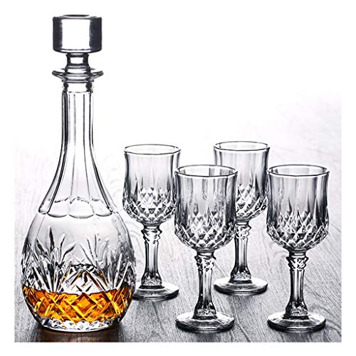 LSRRYD Whisky karaf en glazen set 750 ml loodvrije kristal whisky karaf met 6 x 2100 ml glazen 7-delige geschenkdoos D