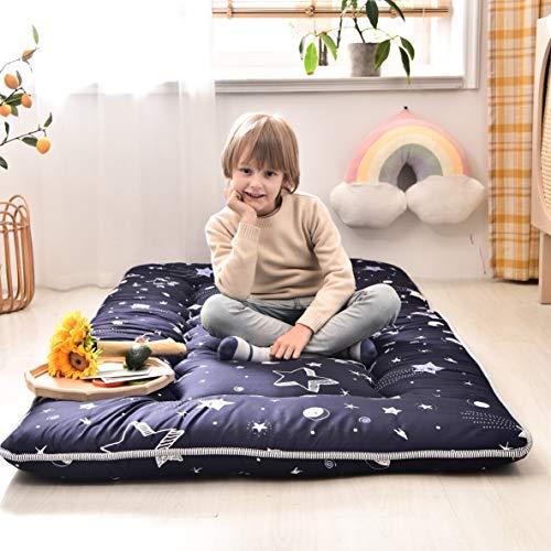 Navy Star Futon Mattress Japanese Floor Mattress Tatami Floor Mat Foldable Bed Portable Camping Mattress Kids Sleeping Pad Floor Lounger Couch Bed Queen Size