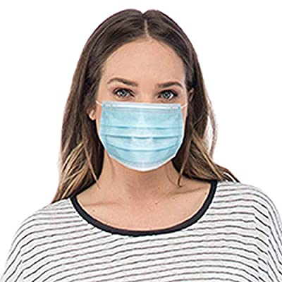 3 Ply Disposable Protective Mask, 50 Masks in Box, Blue from 0G6EO