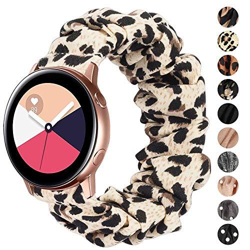 Ownaco Kompatibel mit Samsung Galaxy Watch3 41mm Armband Scrunchies Leopard Stoff Weiches Muster Bedrucktes Gewebe Ersatzarmbander Frauen Elastische Scrunchy Bander fur Active2 40mm 44mmKlein
