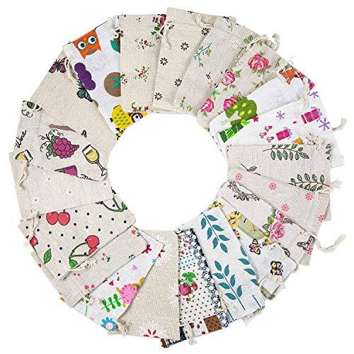 Maojuee 20 Piezas Bolsa de Cordón de Algodón y Lino Para Guardar Regalos Bolsa de lino de algodón Impresión Floral Bolsas de Arpillera 10×14 CM (A)