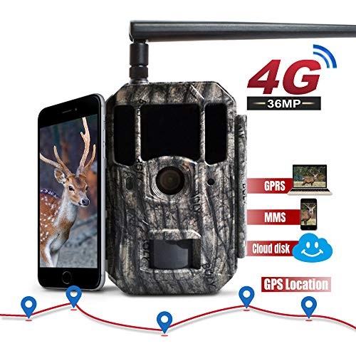 BolyGuard 4G Cloud Drive Wildkamera 36 MP 4 K Trail Game Kamera Bewegungsaktiviert Infrarot Nachtsicht mit GPS Tracker 5,1 cm LCD-Display IP66 wasserdicht für Outdoor und Home Security