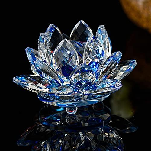 JUNLAI Fengshui K9 Crystal Lotus Flower Paper Paper Papel para el Favor de la Boda Decoración del hogar (Color : Blue)