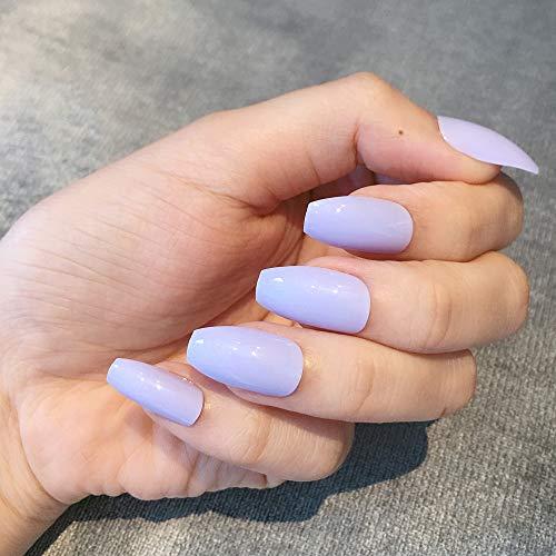 Artquee 24pcs Light Purple Ballerina Medium Long Coffin Glossy Fake Nails Press on Nail...
