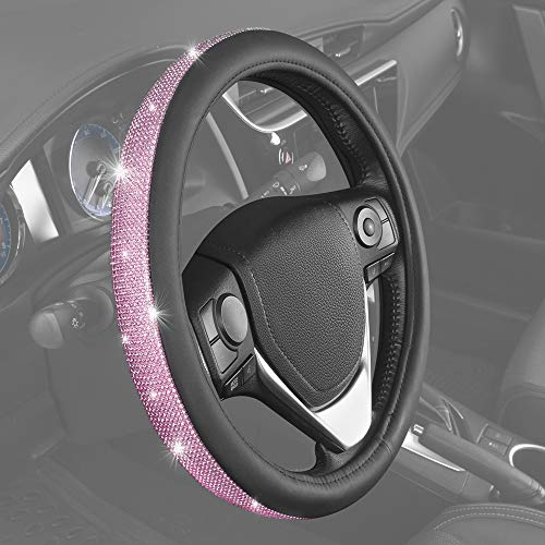 BDK Bling Bling Diamond Leather Steering Wheel Cover with 9 Rows Crystal...
