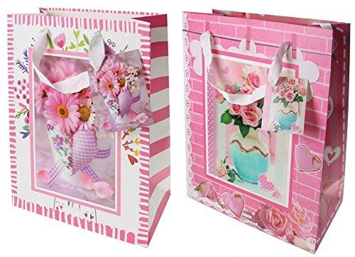 Geschenktasche / Geschenktüte medium 3D-Bild Blumenstrauß Hochzeit / Geburtstag / Jubiläum: VE: 12, 2 Motive