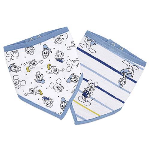 aden + anais™ essentials - Pack de 2 bavoirs bandanas en mousseline 100% coton- Design contemporain - Absorbant - Pour bébés qui font leurs dents - Garçon - Imprimé Mickey Stargazer - 21,5 cm x 41 cm