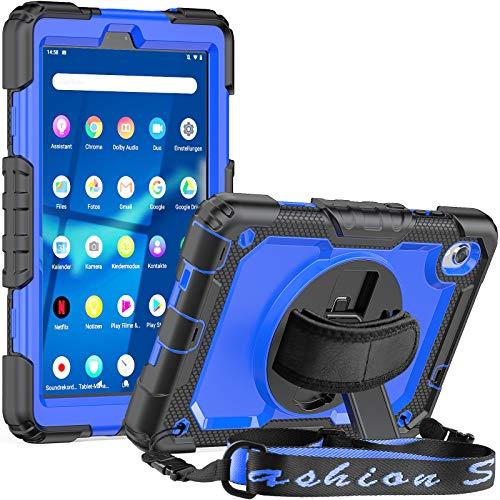 SEYMCY Case for Lenovo Tab M8 HD/Smart Tab M8/Tab M8 FHD 2019, Kids Shockproof Swivel Hand Strap Stand Case for Lenovo M8 TB-8505F TB-8505X TB-8505FS TB-8705F TB-8705N 8.0 Inch Tablet -Black/Blue