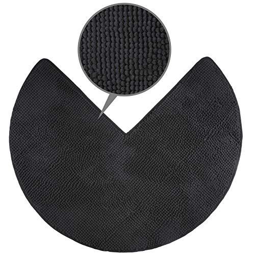 fluffy Alfombrilla de baño para duchas esquineras, Microfibra de Chenilla, con Base Antideslizante (Antracita)