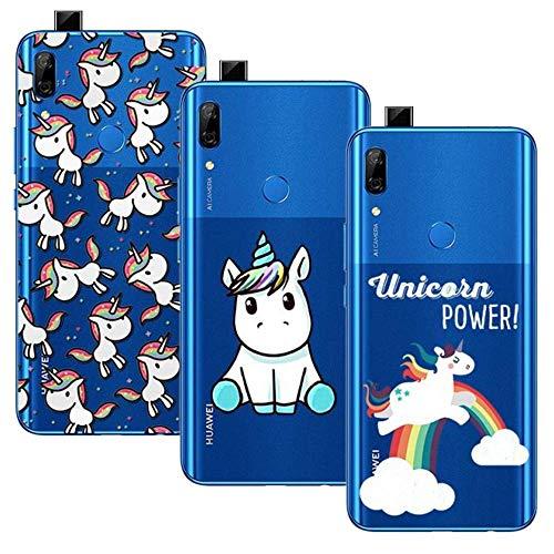 3 Pack Huawei P Smart Z Funda/Huawei Y9 Prime 2019, Transparente Ultrafina Carcasa Delgado antigolpes Resistente, Unicornio