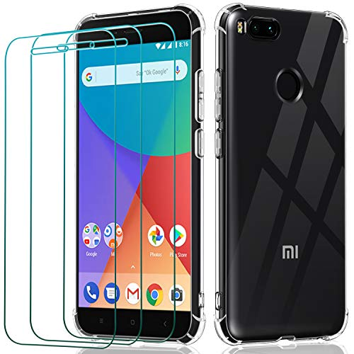 ivoler Funda para Xiaomi Mi A1 + 3 Unidades Cristal Vidrio Templado Protector de Pantalla, Ultra Fina Silicona Transparente TPU Carcasa Airbag Anti-Choque Anti-arañazos Caso