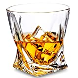 LANFULA Crystal Whiskey Glass Set of 2 - Premium Lead Free Crystal Old Fashioned Twist Cocktail...
