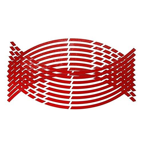 16pcs 17'18' y 1Pc la etiqueta engomada de Fender Tiras coche de la motocicleta neumático de la rueda pegatinas reflectantes borde de la cinta de la moto Auto Adhesivos pegatinas moto (Color : Red)