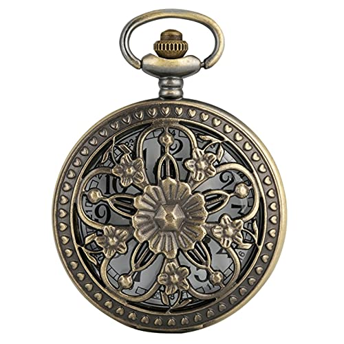 KGDC Reloj de Bolsillo clásico Elegante Flor Bronce Hueco Cazador Reloj de Bolsillo Movimiento de Cuarzo Vintage Exquisito Dama joyería Colgante Reloj Regalo Reloj de Bolsillo Vintage para Hombre