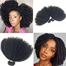 Brazilian Afro Kinky Curly 4B/4C Bundles Hair 10inch 1PC 100g Brazilian Virgin Remy Human Hair Weaves Natural Black Color (1 bundle 10inch, natural black)